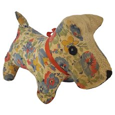 Vintage Ohio Folk Art Scottie Dog Made of Feedsack Fabric