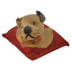 Vintage Folk Art Velveteen Dog's Head Pin Cushion