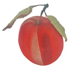 Vintage Velveteen Red Apple Pin Cushion