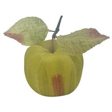 Vintage Velveteen Green Apple Pin Cushion