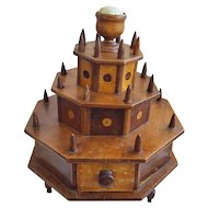 Rare 19th C. Folk art 3-Tier Swiveling Sewing Box Stand
