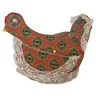 Vintage Folk Art Sitting Hen Pin Cushion