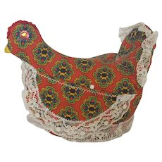 Vintage Folk Art Sitting Hen Pin Cushion