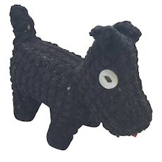 Diminutive Vintage 1940's Handmade Folk Art Scottie Dog Pin Cushion Whimsy