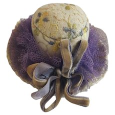 Vintage Folk Art Embroidered Felt Hat Pin Cushion
