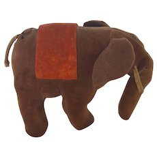 Vintage Folk Art Velveteen Elephant Pin Cushion Whimsy