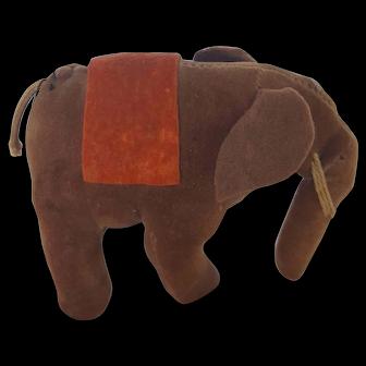 Vintage Folk Art Velveteen Elephant Pin Cushion Whimsy