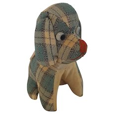 Vintage Blue Plaid Floppy-Eared Dog Pin Cushion Whimsy