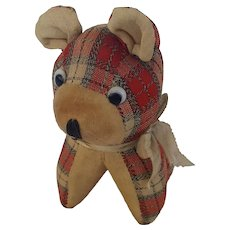 Vintage Red Plaid Dog Pin Cushion Whimsy