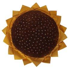 Vintage Folk Art Sunflower Blossom Pin Cushion or Hot Pad