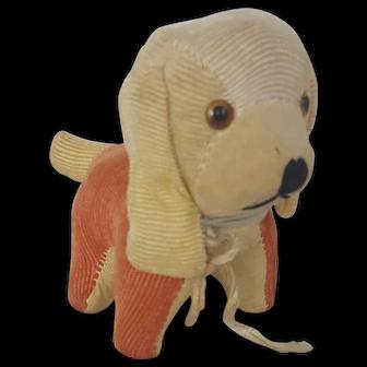 Vintage Orange & White Corduroy Dog Pin Cushion
