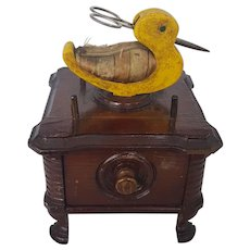 Vintage Folk Art Duck Design Footed Sewing Caddy Stand