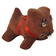 Vintage Folk Art Brown Corduroy Dog Pin Cushion