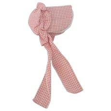 Vintage PA. Folk Art Pink Homespun Bonnet Pin Keep
