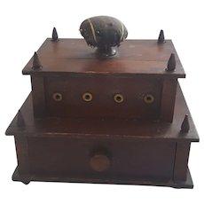 19th C. Small Size Folk Art PA. Folk Art 2-Tiered Sewing Caddy Stand