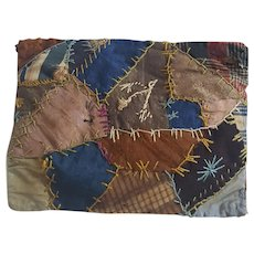Vintage Primitive Crazy Quilt Pin Cushion