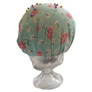 Diminutive Vintage Folk Art Floral Fabric Make-Do Pin Cushion