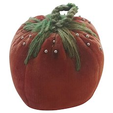 Vintage PA. Folk Art Velvet Tomato Emery Pin Cushion