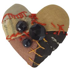 Diminutive Vintage Folk Art Crazy Quilt Heart Pin Cushion