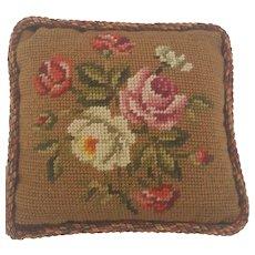Vintage Lancaster Co. PA, Folk Art Needlepoint Floral Design Pin Cushion