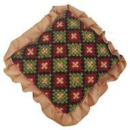 Vintage Lancaster Co. PA. Folk Art Needlepoint Diamond Grid Design  Pin Cushion