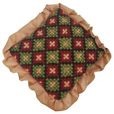 Vintage Lancaster Co. PA. Folk Art Needlepoint Diamond Grid Design  Pin Cushion