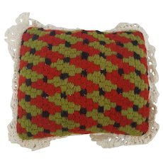 Vintage Lancaster Co. PA. Folk Art Needlepoint Houndstooth Pin Cushion