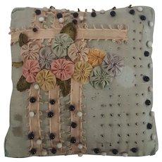 Vintage Folk Art Satin Pin Cushion with Ribbon Yoyo Flowers Design