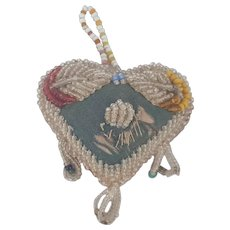 Early 1900's Iroquois Folk Art Beaded Heart Pin Cushion