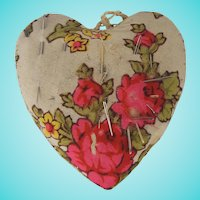 Vintage Primitive Floral & Silk Fabric Heart Pin Cushion