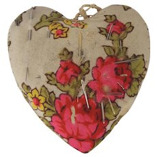 Vintage Primitive Floral & Silk Fabric Heart Pin Cushion