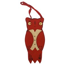 Vintage Folk Art Red & Off-White Felt Owl Needle Case