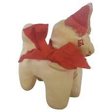 Diminutive Vintage Primitive PA. Folk Art White Satin Dog Pin Cushion Whimsy