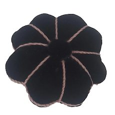 Vintage Near Mint Unused PA. Folk Art Black Velvet Flower Pin Cushion