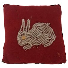 Antique Primitive Folk Art Pin Cushion with Beaded Rabbit Design