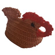 Funky Vintage Ohio Folk Art Crocheted Chicken Pin Cushion Whimsy