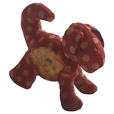 Tiny Vintage Super Primitive Red and White Polkadot Dog Pin Cushion