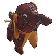 Vintage Red Plaid Elephant Pin Cushion
