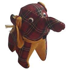 Vintage Red Plaid Elephant Pin Cushion