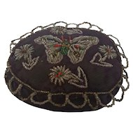 Antique Victorian Beaded Velvet Beaded Pin Cushion with Butterfly & Flowers Design