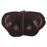 Antique Victorian PA. Folk Art Embroidered Butterfly Needle Case Pin Keep