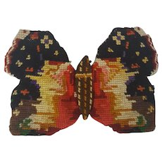 Antique Victorian Folk Art Needlepoint Butterfly Needle Case Pin Keep
