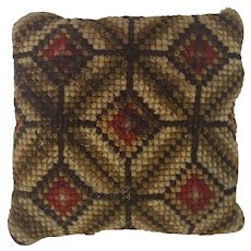 Vintage PA. Amish Folk Art Diamond Pattern Needlepoint Pin Cushion