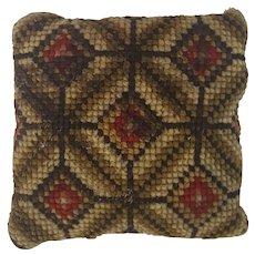 Vintage PA. Amish Folk Art Diamond Pattern Needlepoint Pin Cushion