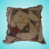Vintage Primitive PA. Folk Art Crazy Quilt Pin/Hatpin Cushion