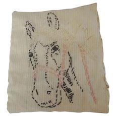 Vintage Primitive PA. Folk Art Feather-Stuffed Tiny Pillow or Pin Cushion