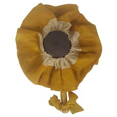 Vintage Folk Art Sunflower Make-Do Pin Cushion Made from Old Strainer
