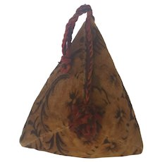 Vintage Folk Art Pyramid Shaped Velveteen Pin Cushion