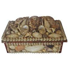 Unusual Vintage Folk Shell Art Sewing Box with 2 Pin Cushions & Mirror