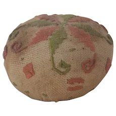 Vintage Coral and Lime Green Embroidered Linen Pin Cushion